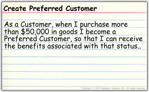 Create a preferred customer