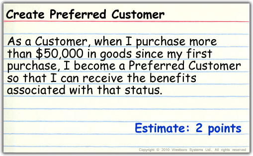 Create a preferred customer with estimate